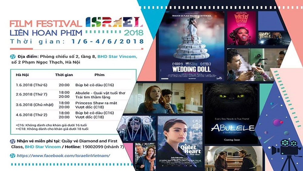 Israel Film Festival, Hanoi, Embassy of Israel, various films, daily life, monumental dramas, kid's films, Vietnamese audiences