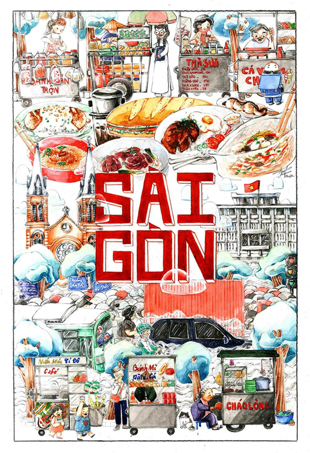 Youth lend, Vietnam destination, Fresh perspectives, most famous places, local graphic design contest, young participants, striking illustrations, famous tourist destinations