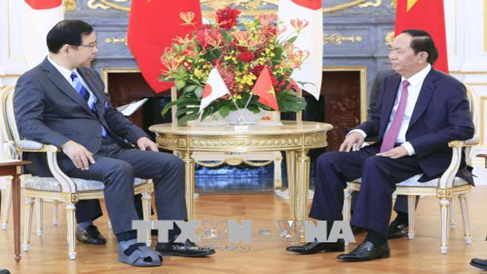 Chủ tịch nước Trần Đại Quang tiếp Chủ tịch Đảng Cộng sản Nhật Bản