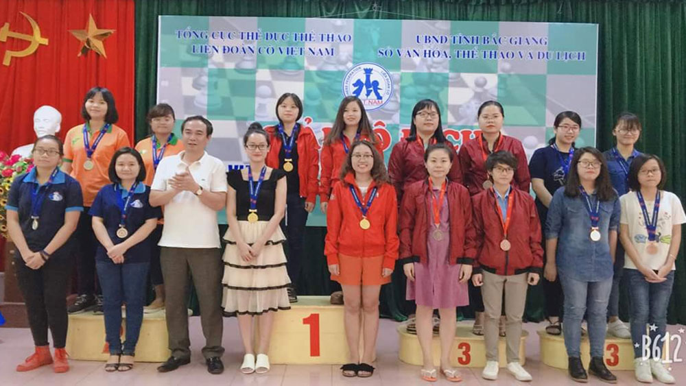 Bac  Giang province, gold medals, national chess tournament, 2018 event, Vietnam Chess Federation, team category, single content