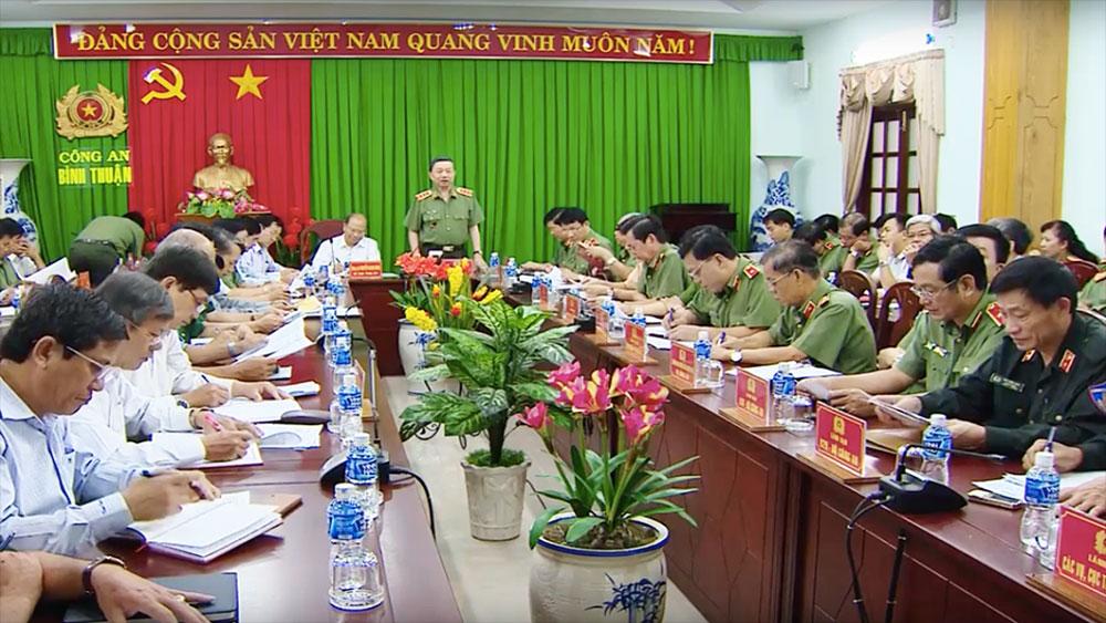 Bộ trưởng Tô Lâm làm việc với Bình Thuận về bảo đảm an ninh trật tự