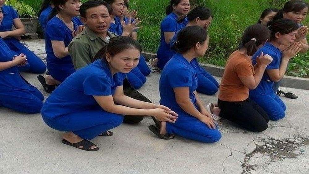 cô giáo, quỳ gối, xin không đóng cơ sở, chính quyền, dàn dựng