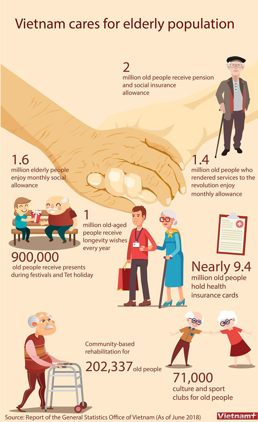 Vietnam, elderly population,  Vietnamese Government,  all sources, social insurance allowance, pension allowance
