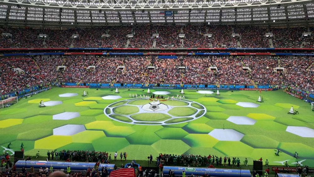 Vibrant colourful ceremony, kicks off, World Cup 2018, Luzhniki Stadium, Moscow, national stadium