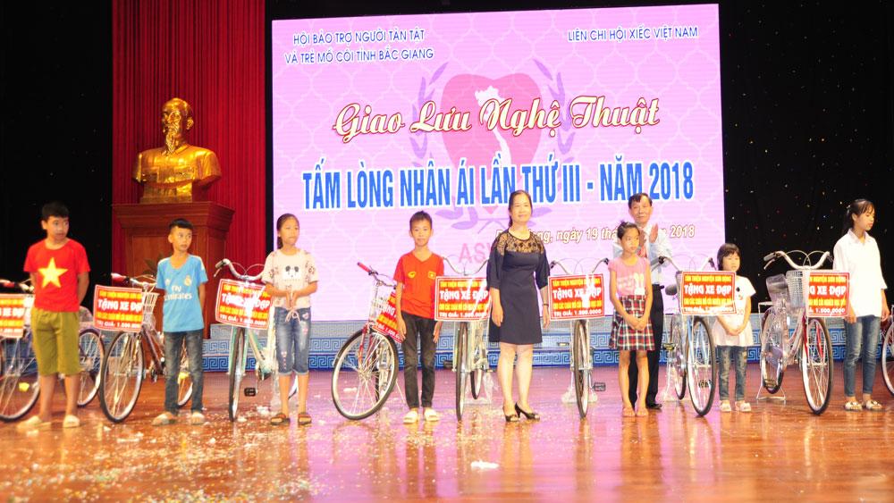 """Hội Bảo trợ người tàn tật và trẻ mồ côi tỉnh, Đêm giao lưu nghệ thuật """"Tấm lòng nhân ái"""", trẻ khuyết tật, Bắc Giang"""