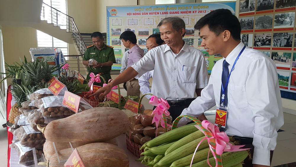 Các đại biểu tham quan gian trưng bày sản vật nông nghiệp ở các địa phương trong huyện.