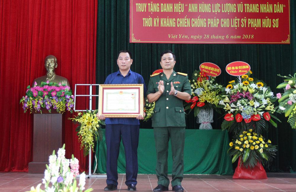 Việt Yên, Bắc Giang, truy tặng, danh hiệu Anh hùng lực lượng vũ trang nhân dân, liệt sĩ Phạm Hữu Sơ