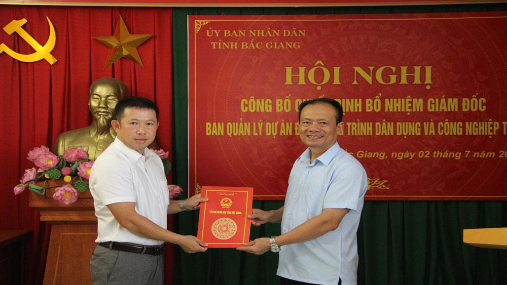 Phó Chủ tịch Thường trực UBND tỉnh, Ban Quản lý Dự án đầu tư xây dựng công trình dân dụng và công nghiệp tỉnh, Bắc Giang