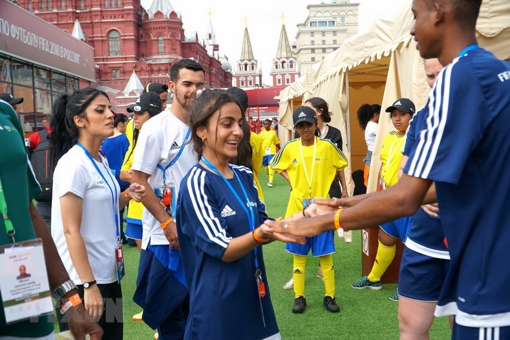 Vietnamese kids, football event, Red Square, Russia, World Cup 2018, FIFA World Cup, Ha Danh Du