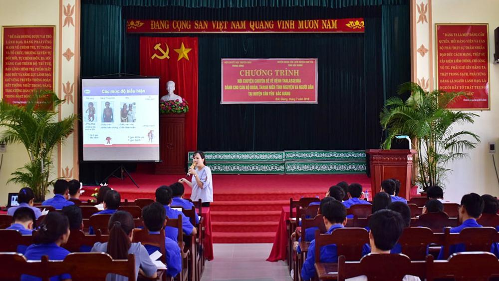 Huyện đoàn Tân Yên, tổ chức nói chuyện chuyên đề, về bệnh Thalassemia