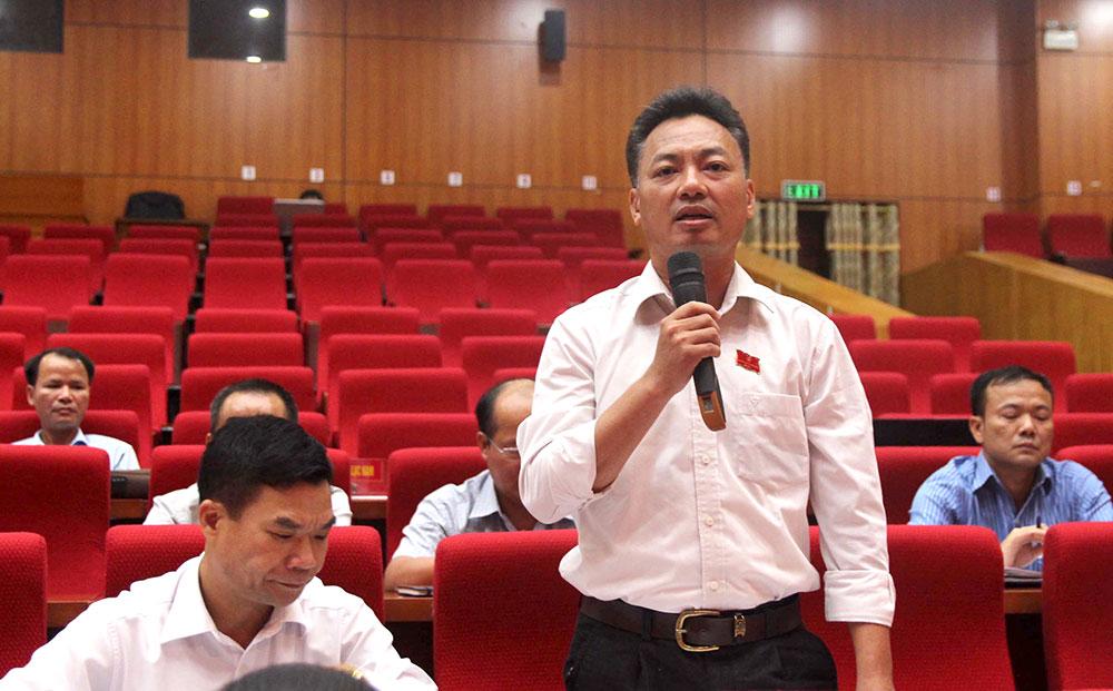 Đại biểu Chu Văn Bắc trao đổi về việc đẩy mạnh liên kết sản xuất, tiêu thụ nông sản.