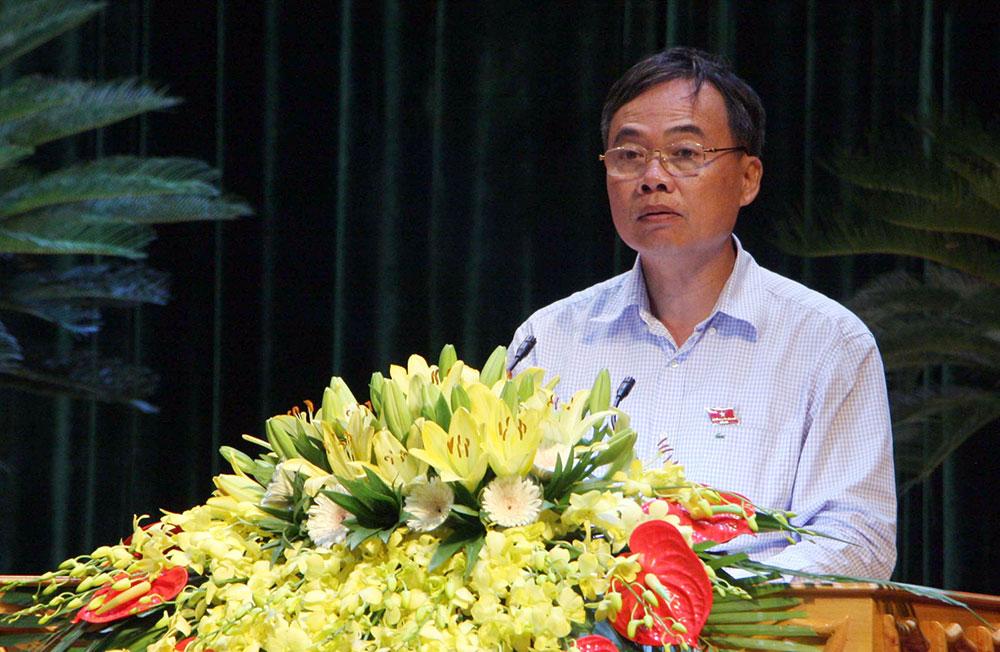 Đồng chí Bùi Văn Hạnh, Phó Chủ tịch Thường trực HĐND tỉnh phát biểu tại phiên thảo luận ở hội trường.
