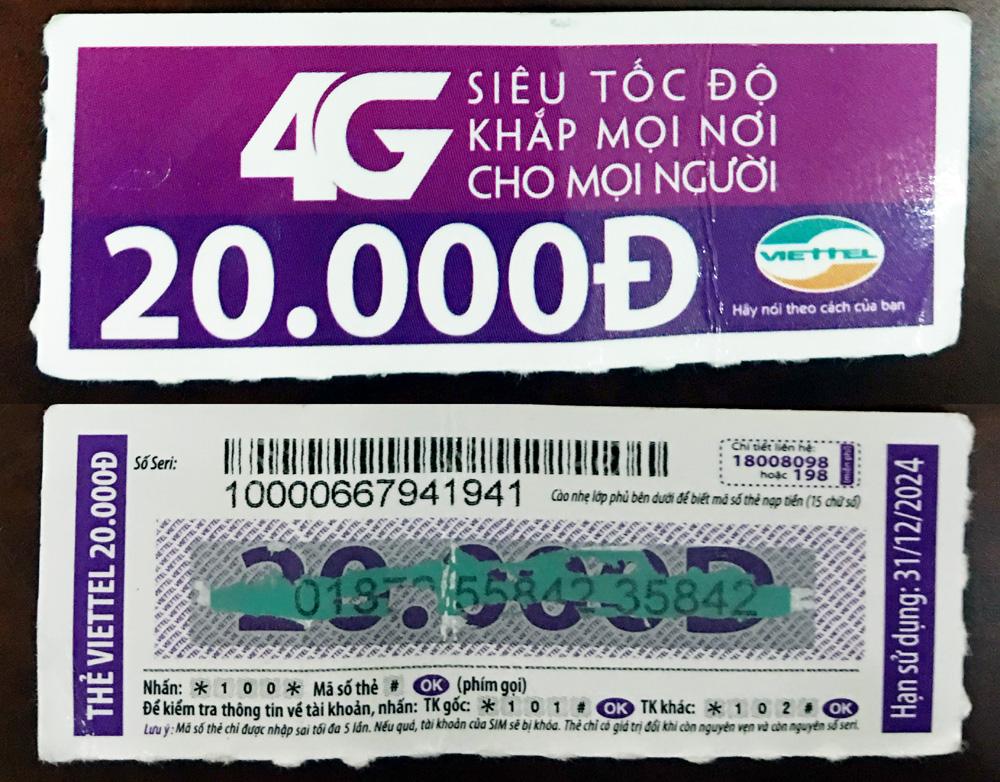 thẻ điện thoại, đường Lê Lợi, Thành phố Bắc Giang, thẻ Viettel, phát hiện thẻ rởm