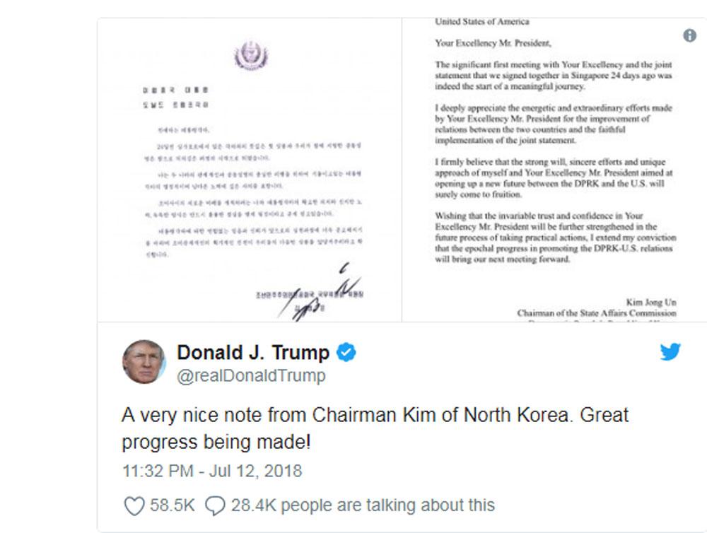 Tổng thống Mỹ Trump, tiết lộ, bức thư, nhà lãnh đạo Triều Tiên