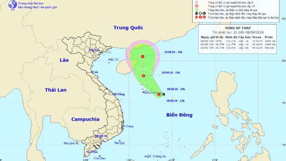 Vùng áp thấp có thể mạnh thành áp thấp nhiệt đới