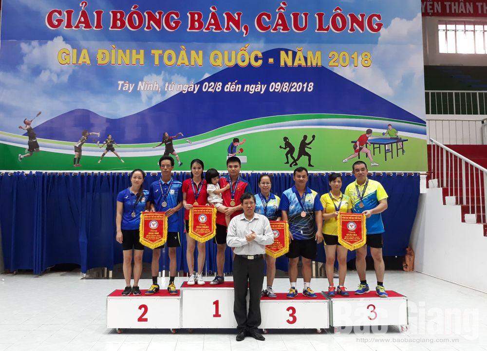 Bắc Giang giành 5 huy chương tại Giải bóng bàn, cầu lông gia đình toàn quốc