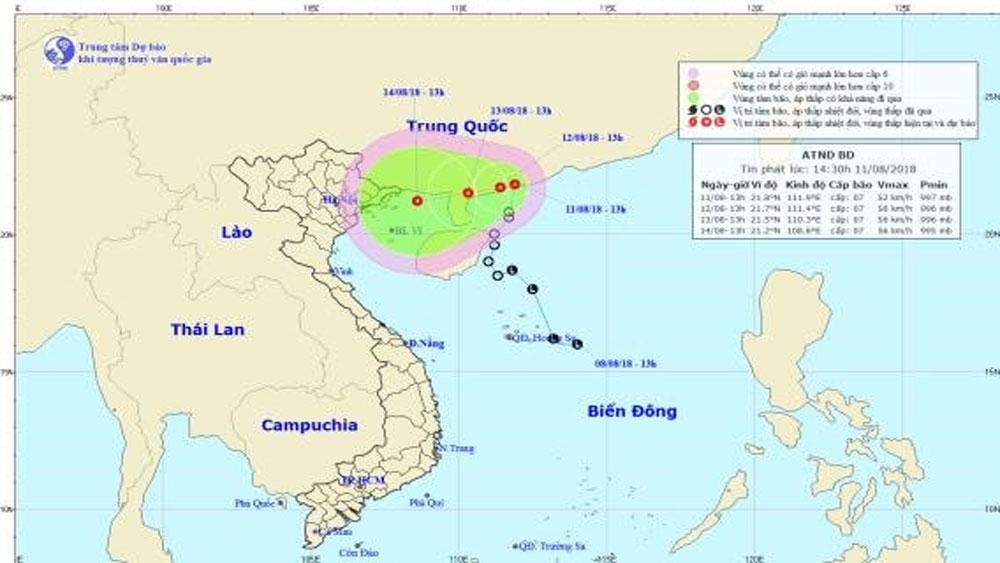 Áp thấp nhiệt đới phát triển mạnh, tiến thẳng vào đất liền miền Bắc