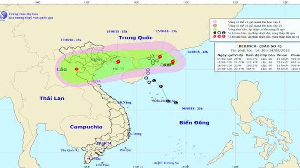 Bão số 4 giật cấp 10, đổ bộ vùng biển Quảng Ninh ngày 16-8