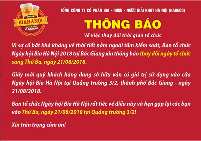 Người dân Bắc Giang náo nức đón chờ Ngày hội Bia Hà Nội dù bị dời lịch tổ chức sang ngày 21-8 do mưa bão