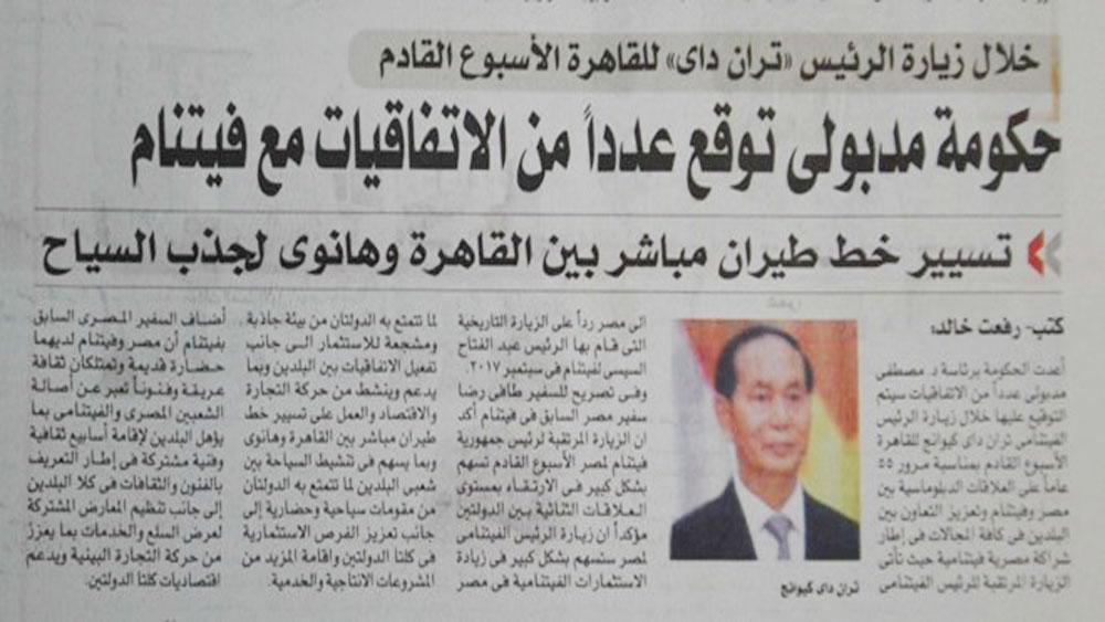 Egyptian newspaper spotlights cooperation prospect with Vietnam