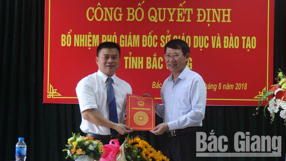 Ông Bạch Đăng Khoa được bổ nhiệm giữ chức Phó Giám đốc Sở Giáo dục và Đào tạo Bắc Giang