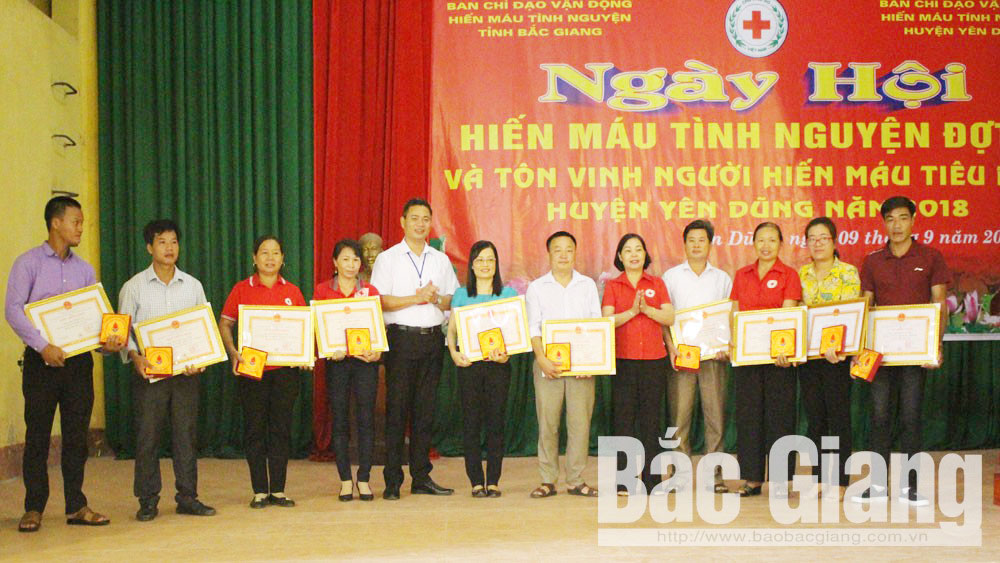 Yen Dung district, typical blood donors, Bac Giang province, second festival, voluntary blood donation festival, safe blood units, blood demand