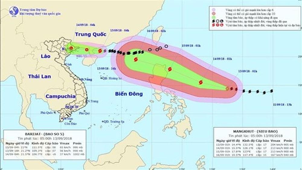 Ngày 17-9, siêu bão Mangkhut, tiến thẳng, tỉnh ven biển Bắc Bộ