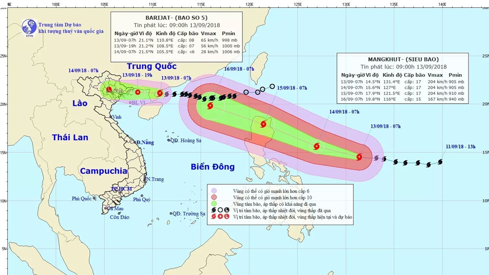 Barijat forecast to weaken as Mangkhut heads to East Sea