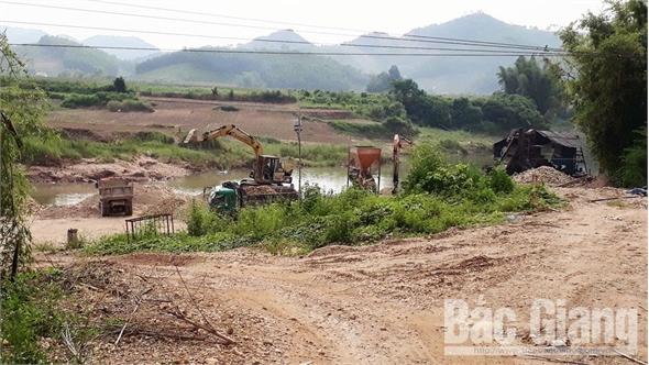 Buộc dừng hoạt động khai thác cát sỏi lòng sông trái phép tại Sơn Động