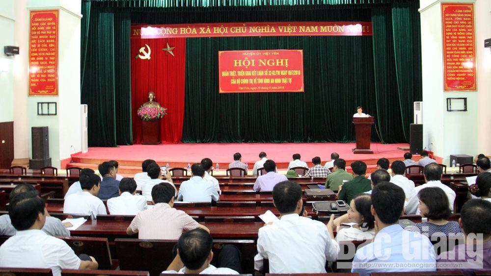 Quán triệt, triển khai Kết luận 32 của Bộ Chính trị về an ninh trật tự