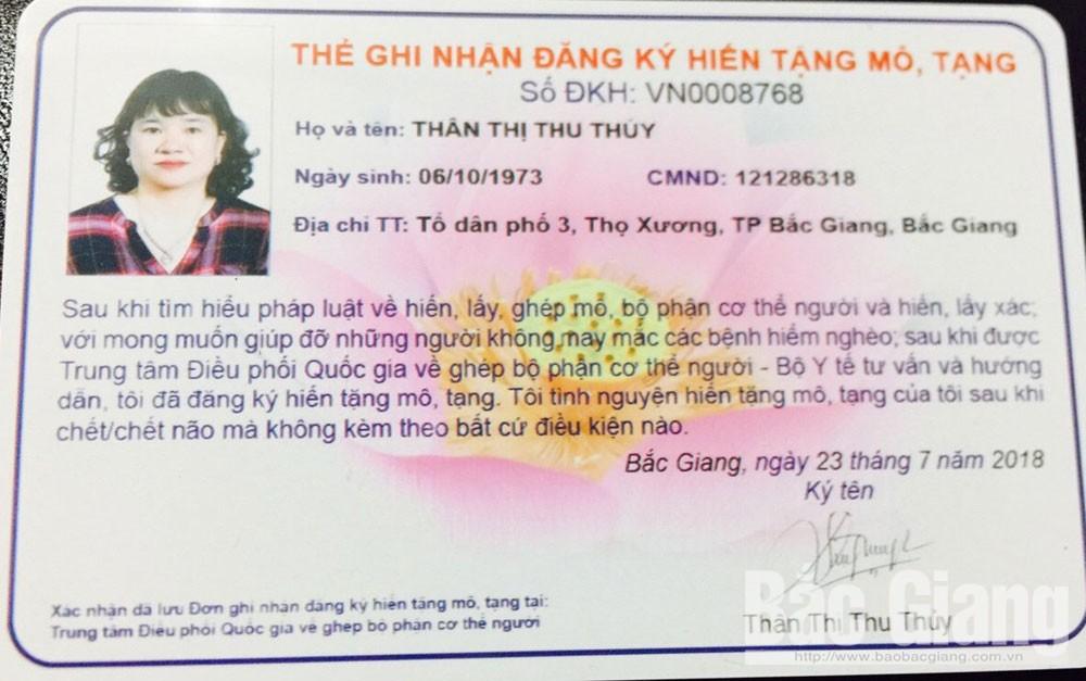 Bắc Giang, từ thiện nhân đạo, hiến máu tình nguyện, hiến tặng mô, tạng, phường Thọ Xương, TP Bắc Giang