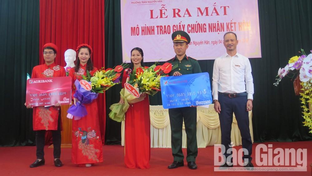ra mắt mô hình điểm 'Trao giấy chứng nhận kết hôn, Trần Nguyên Hãn, TP Bắc Giang, Bắc Giang