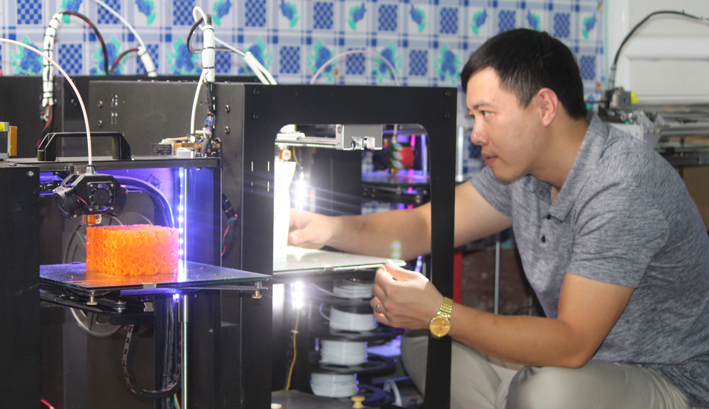 Start- up, 3D printing technology, Bac Giang province, advancement of science, modeling industry, high economic values, reative industry, cultural industry, Bui Do Thang, Tran Duc Duy, young specialists, 3D printing technology
