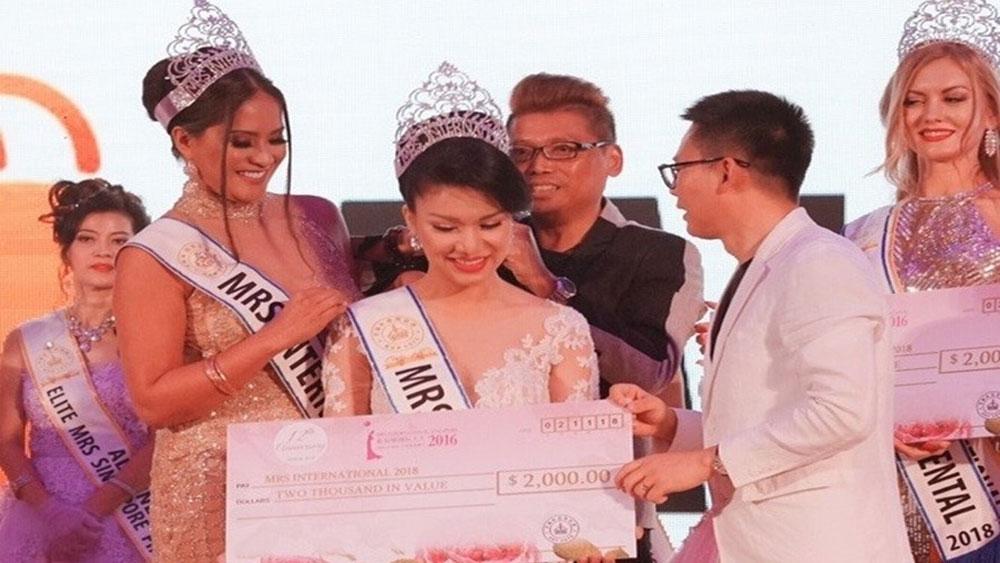 Tiếp viên Vietnam Airlines đăng quang Hoa hậu quý bà Quốc tế 2018