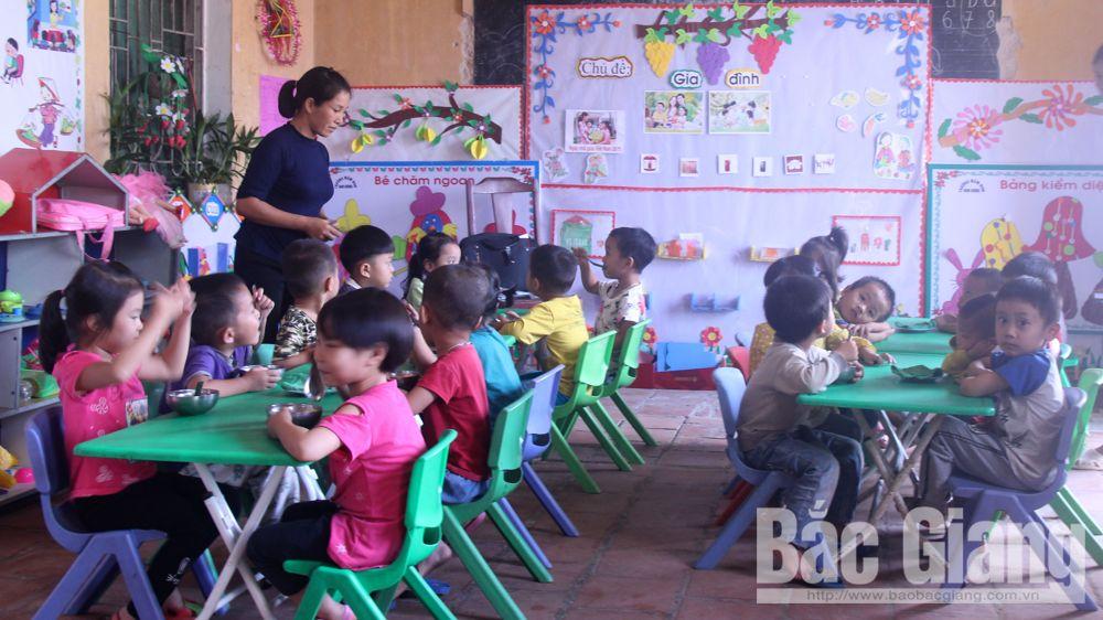 xã Nam Dương, Trường Mầm non Nam Dương, Phòng Giáo dục và Đào tạo huyện Lục Ngạn, bếp ăn bán trú, thực phẩm bẩn