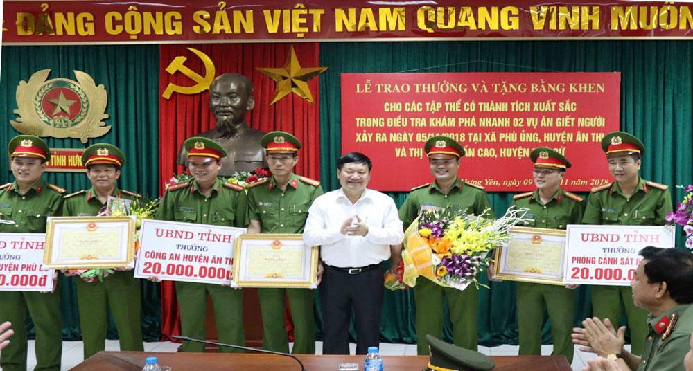 Khen thưởng thành tích khám phá 2 vụ án giết người nghiêm trọng tại Hưng Yên