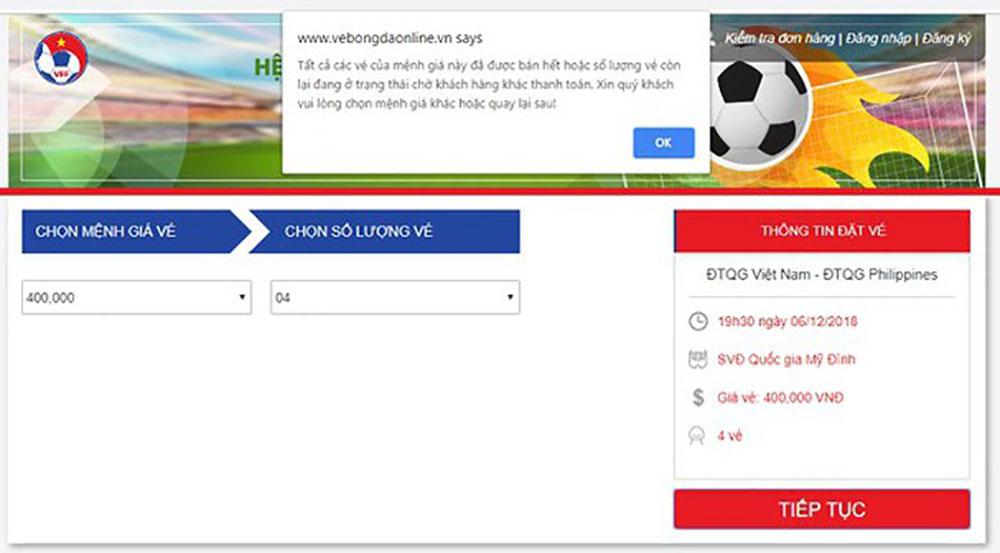 """VFF nói gì về việc vé trận Philippines """"chưa bán đã hết""""?"""