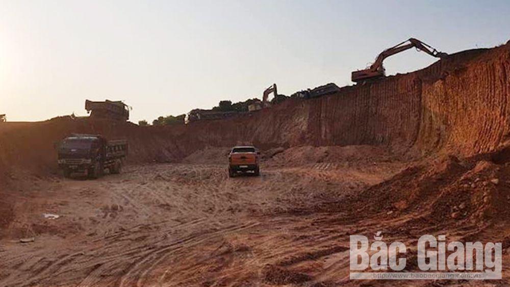 Khai thác đất san lấp mặt bằng, Khai thác đất trái phép, Huyện Lục Ngạn, Bắc Giang