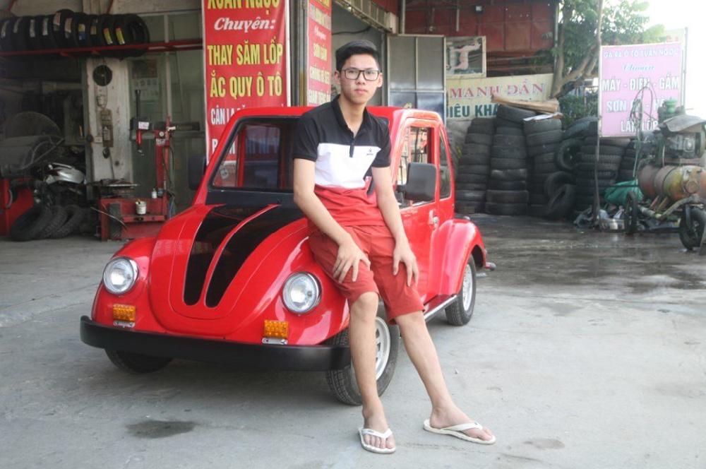 ô tô điện, xe điện, xe tự chế, học sinh, thiết kế, lắp ráp ô tô, Ngô Việt Cường, chạy bằng năng lượng mặt trời, năng lượng mặt trời