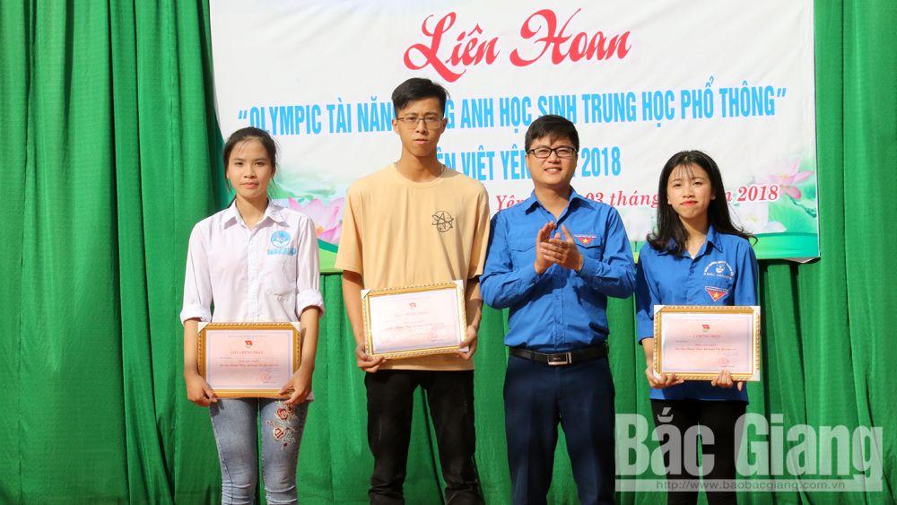 Trường THPT Việt Yên số 1 giành giải Nhất Liên hoan  Olympic tài năng tiếng Anh