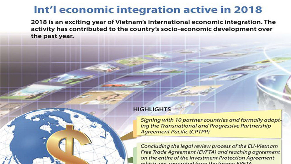 Int'l economic integration active in 2018