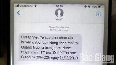 Hơn 500 nghìn tin nhắn thông báo chương trình lễ công bố huyện Việt Yên đạt chuẩn nông thôn mới