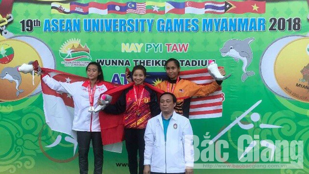 Nguyen Thi Oanh, Bac Giang province, two golds, ASEAN University Games, track and field event, successful year-end competition, Vietnamese students, Bac Giang born girl