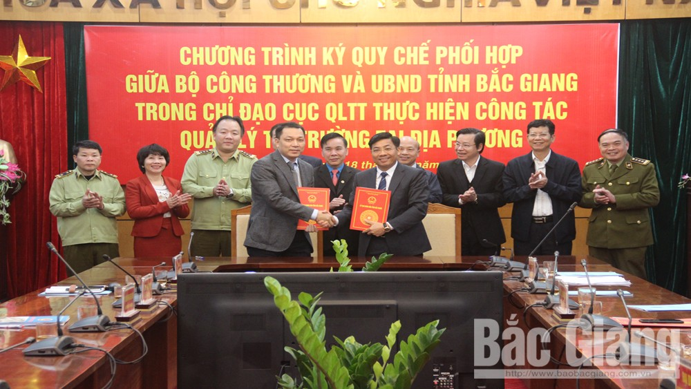 Provincial People's Committee, Ministry of Industry and Trade, sign regulations, market management, Bac Giang province, power and organizational structure, Lunar New Year 2019, healthy market
