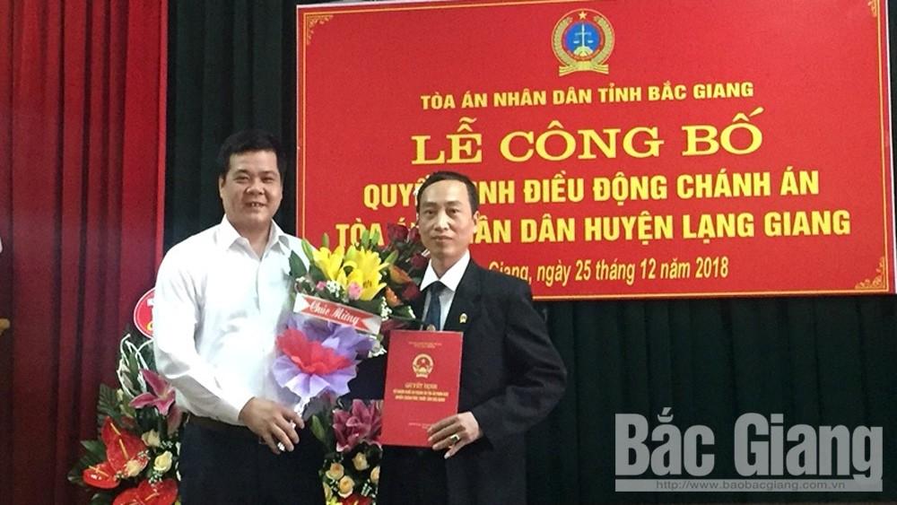 Ông Thân Hồng Giang giữ chức Chánh án TAND huyện Lạng Giang