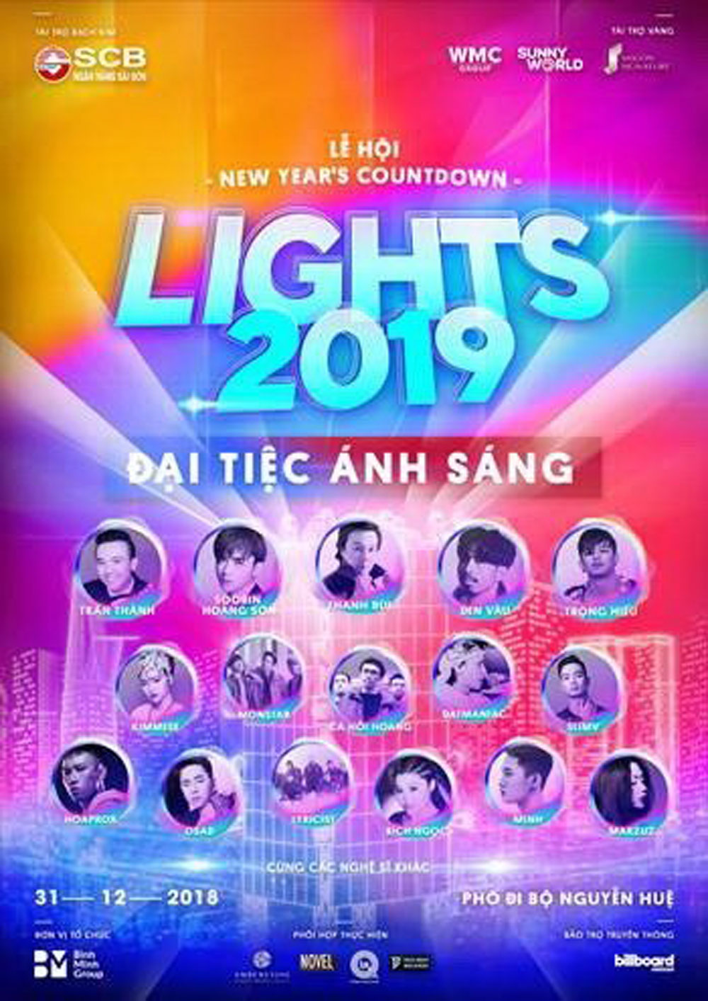 New Year Countdown party, Nguyen Hue walking street, Vietnamese talents, cultural event, Lights 2019