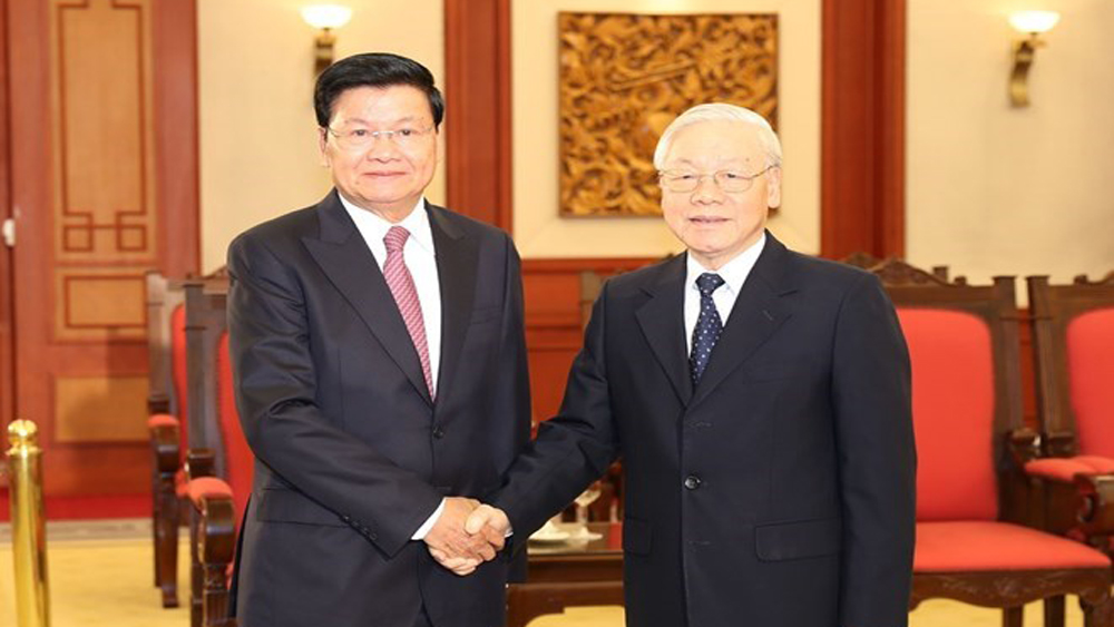 Top Vietnamese leader, Lao Prime Minister, General Secretary, the Communist Party, Vietnam, Nguyen Phu Trong, Lao Prime Minister Thongloun Sisoulith, high-level agreements, 41st session, Vietnam-Laos cooperation
