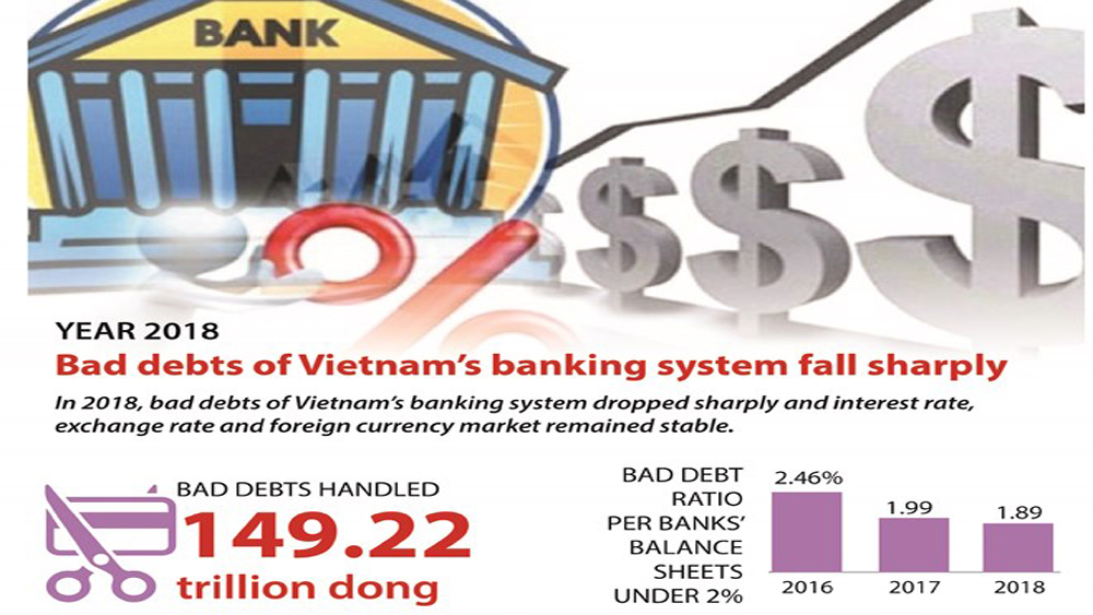 Vietnamese banks' bad debts fall sharply in 2018