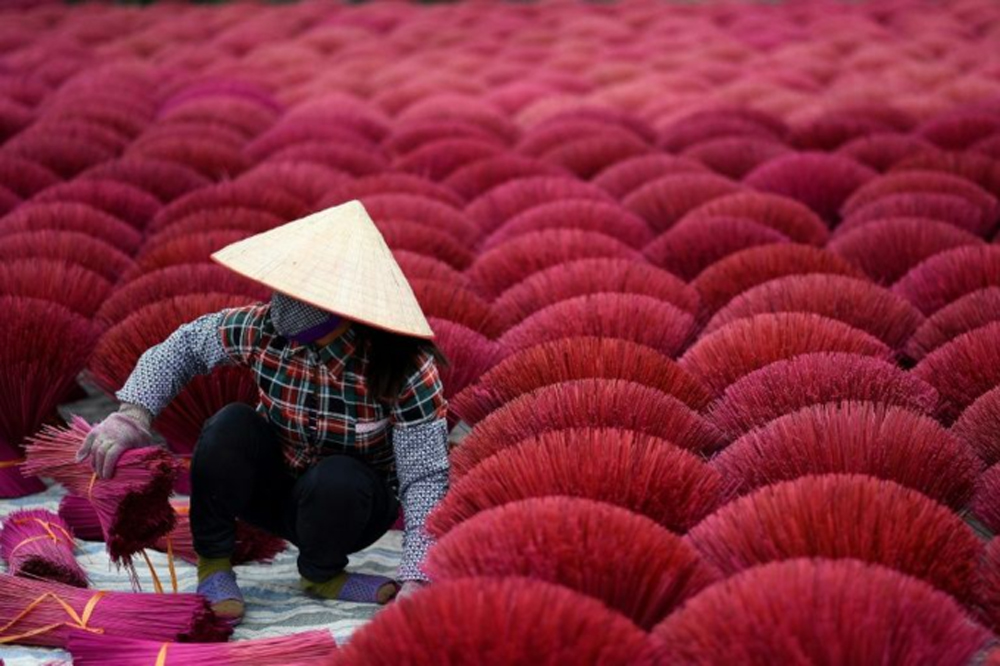 Vietnam's incense village, Lunar New Year, Hanoi village,  fragrant sticks, busy holiday, most frantic time, traditional and spiritual job