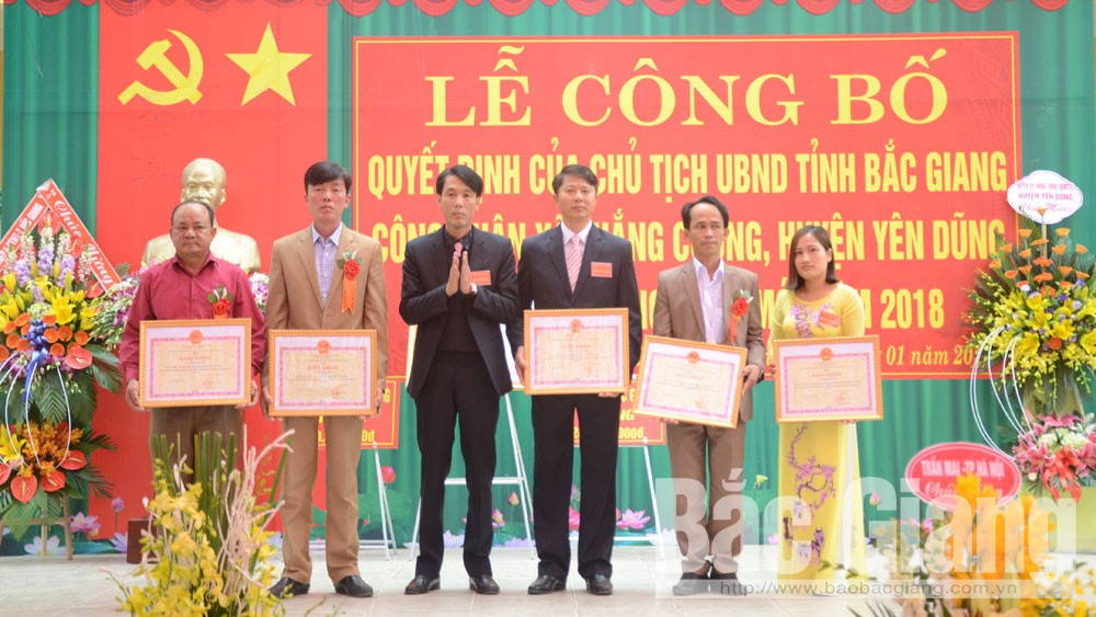 Yên Dũng, xã Thắng Cương, đạt chuẩn, nông thôn mới